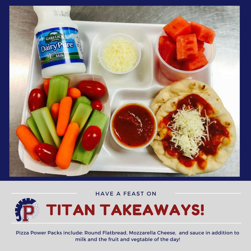 Photo of Lunch Tray-Pizza Power Packs: Round Flatbread with mozzarella cheese & sauce, milk, & the fruit & veggie of the day
